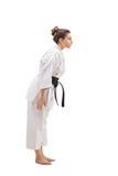 Female in a kimono bowing down Royalty Free Stock Photo