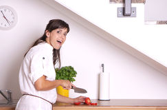 Female kitchen. Woman cutting tomatoes slices in kitchen royalty free stock photos