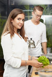 Female at the kitchen Stock Photography