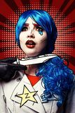 Female with knife near throat. Portrait of young woman in comic pop art make-up style stock photo