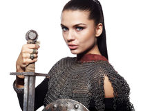 Female knight in armour. Portrait of a medieval female knight in armour Royalty Free Stock Images