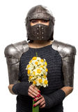 Female knight in armour. Portrait of a medieval female knight in armour with flowers Stock Image