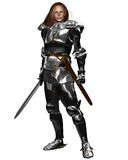 Female Knight in Shining Armour. Woman wearing Medieval or Fantasy armour and holding a sword, 3d digitally rendered illustration Stock Images