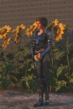 Female knight wearing ornate armor in castle garden. Female knight in ornate silver armour with sad expression stands near sunflowers in castle garden Royalty Free Stock Image