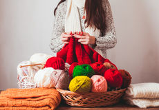 Female knits sweater Royalty Free Stock Image