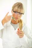 Female in lab Stock Image