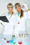 Female in lab Stock Images