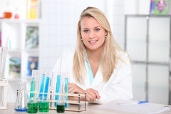 Female lab assistant Stock Photo