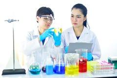 Female lab technician in laboratory. Female lab technician working in medical laboratory Stock Photo