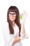 Female lab worker holding test-tube Royalty Free Stock Photography