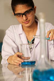 Female laboratory assistant. Female work as laboratory assistant royalty free stock image
