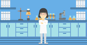 Female laboratory assistant vector illustration. Royalty Free Stock Photo