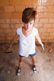 Female laborer ready to work Royalty Free Stock Photography
