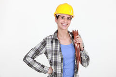 Female laborer on white background Royalty Free Stock Photo