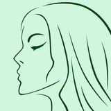 Female laconic heads outline in green. Hues, hand drawing vector simple illustration Stock Photos