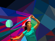 Female lady badminton player during serve shot Royalty Free Stock Images