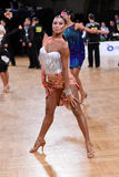 Female latin dancer dancing during competition Royalty Free Stock Photography