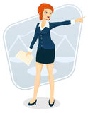Female Lawyer. A vector illustration of a beautiful female lawyer making an argument Royalty Free Stock Image