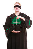 Female lawyer attorney in classic polish black green gown and scales Stock Images