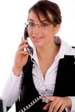 Female lawyer communicating on phone Royalty Free Stock Photos