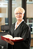Female lawyer with German civil code. Female lawyer with German civil law code in a court room royalty free stock photos
