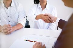 Female lawyer handshake with client. Business partnership meeti. Ng successful concept Stock Image