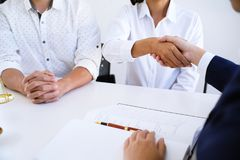 Female lawyer handshake with client. Business partnership meeti. Ng successful concept Stock Photo
