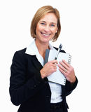Female lawyer holding writing pad and pen Stock Images