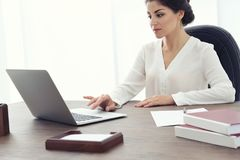 Female lawyer working with laptop royalty free stock images