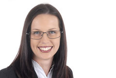 Female lawyer young professional wearing suit and glasses, white background Stock Images