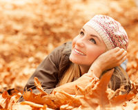 Female laying on the ground Royalty Free Stock Image