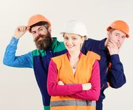 Female leader concept. Woman, leader in hard hat stock photo