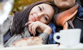 Female leaning on male shoulder Royalty Free Stock Images
