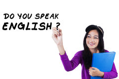 Female learner studying English Royalty Free Stock Photo