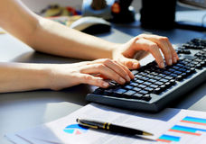 female learner typing on the keyboard Royalty Free Stock Image