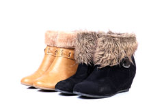 Female leather fur shoes Royalty Free Stock Photo
