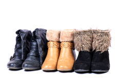 Female leather fur shoes Royalty Free Stock Images