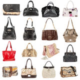 Female leather handbags on a white background Stock Photo