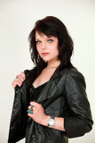Female in leather jacket Royalty Free Stock Image
