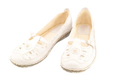 Female leather summer shoes Royalty Free Stock Images