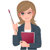 Female lecturer winking with pointer stick Stock Photography