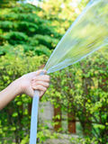 Female left hand is watering the plants in  garden Royalty Free Stock Photo