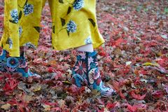 Female leg / foot walking in autumn leaves: floral ankle boot and yellow flares royalty free stock images