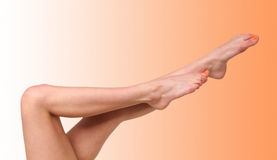 Female legs. Naked legs of the girl with a pedicure Stock Photography