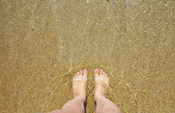 Female legs against water and sand on beach Royalty Free Stock Images