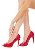 Female legs, arm and high heels | Isolated Royalty Free Stock Photo