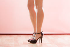 Female legs in black high heels Royalty Free Stock Photography