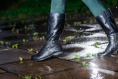 Female legs in black leather high boots on cobble  the edge of rain puddle, closeup. Concept  protection against rainy. Female legs in black leather high boots Royalty Free Stock Photography