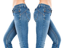 Female legs in a blue jeans Stock Photo