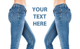 Female legs in a blue jeans Royalty Free Stock Photo